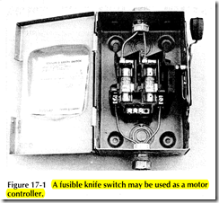 Figure 17 1 A fusible knife switch may be used as a motor controller.