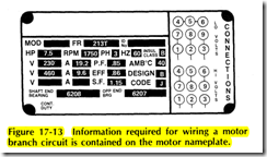 Figure  17-13   Information  required  for wiring  a motor branch  circuit is contained on the motor nameplate.