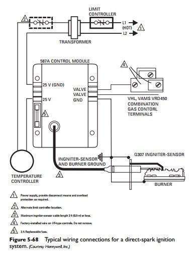 gas and oil controls direct spark ignition module hvac machinery rh machineryequipmentonline com Honeywell Gas Valve Wiring Diagram Honeywell Zone Valve Wiring Diagram